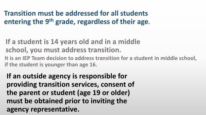 It is an IEP Team decision to address transition for a student in middle school, if the student is younger than age 16.