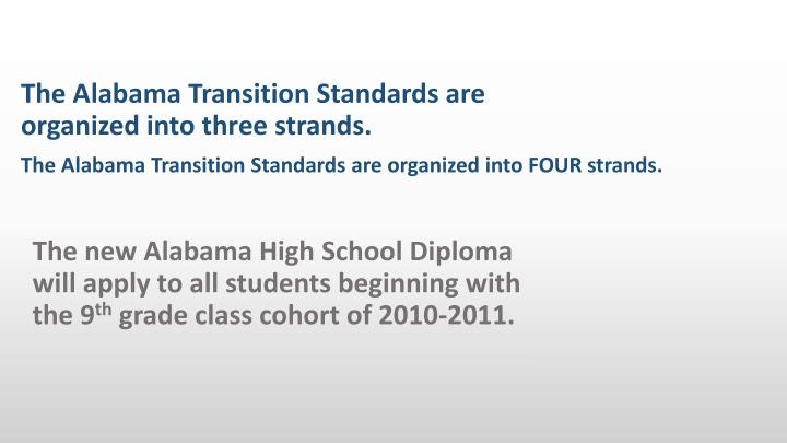 The Alabama Transition Standards are organized into FOUR strands.