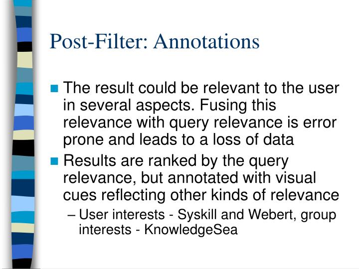 Post-Filter: Annotations