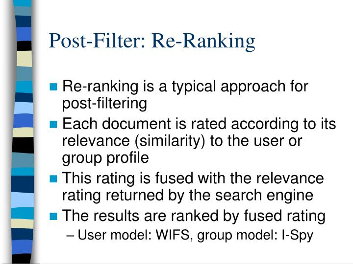 Post-Filter: Re-Ranking