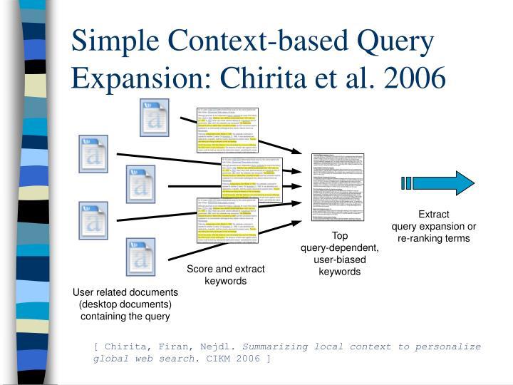 Simple Context-based Query Expansion: Chirita et al. 2006