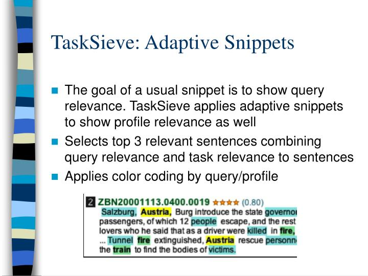 TaskSieve: Adaptive Snippets