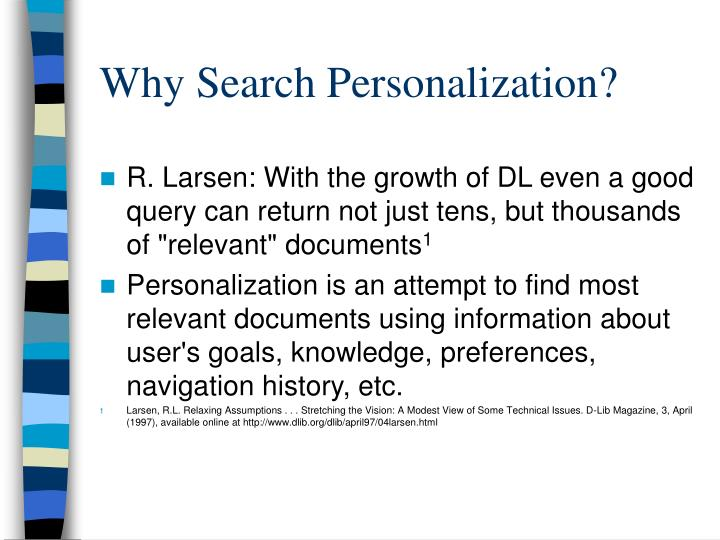 Why Search Personalization?