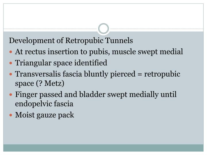Development of Retropubic Tunnels