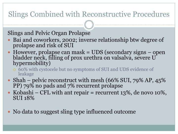 Slings Combined with Reconstructive Procedures