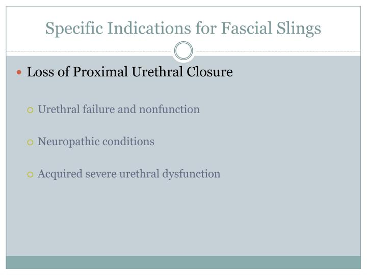 Specific Indications for Fascial Slings
