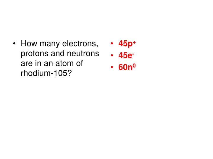 How many electrons, protons and neutrons are in an atom of rhodium-105?