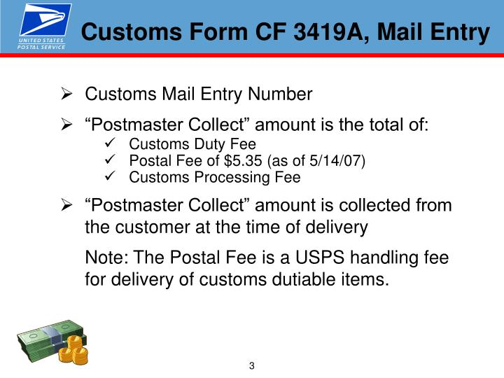 Customs Form CF 3419A, Mail Entry