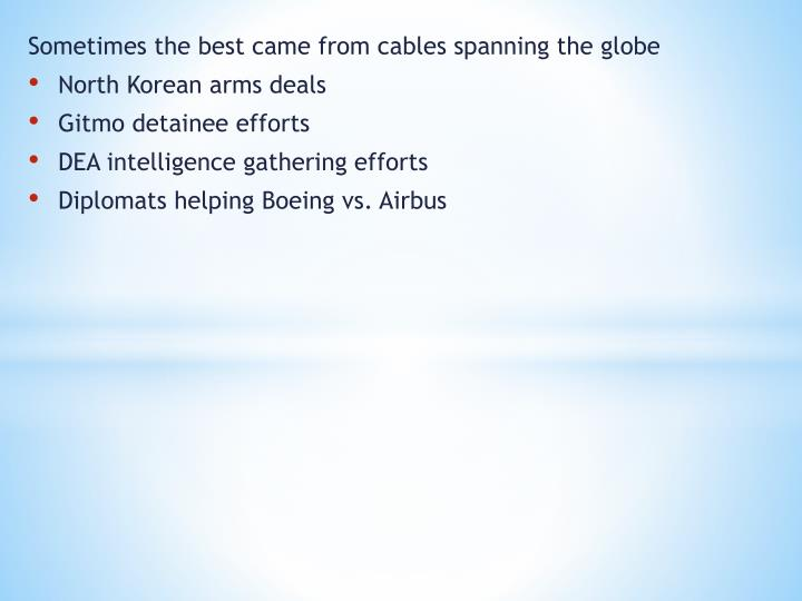 Sometimes the best came from cables spanning the globe