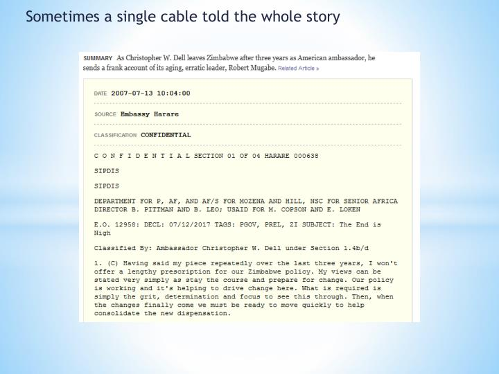 Sometimes a single cable told the whole story