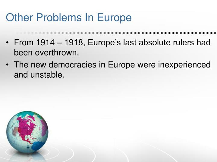Other Problems In Europe