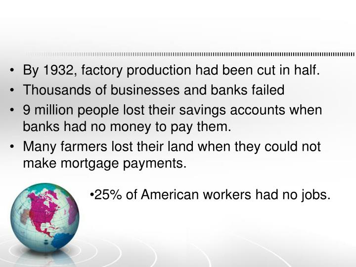By 1932, factory production had been cut in half.