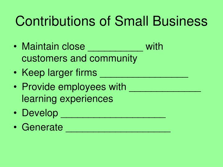 Contributions of Small Business