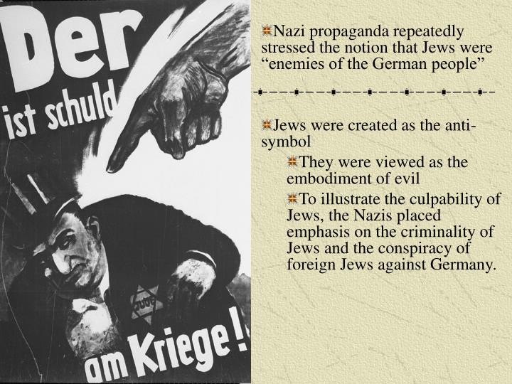 """Nazi propaganda repeatedly stressed the notion that Jews were """"enemies of the German people"""""""