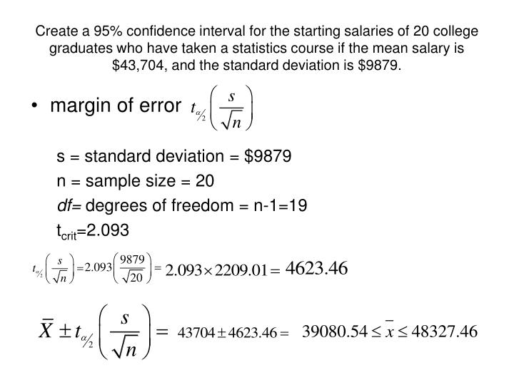 Create a 95% confidence interval for the starting salaries of 20 college graduates who have taken a statistics course if the mean salary is $43,704, and the standard deviation is $9879.