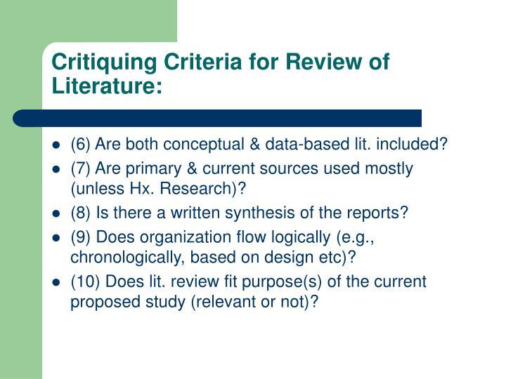 Critiquing Criteria for Review of Literature: