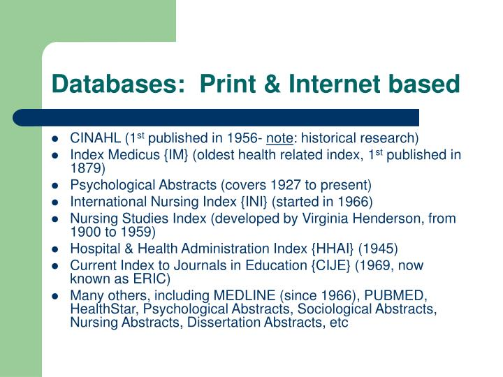 Databases:  Print & Internet based