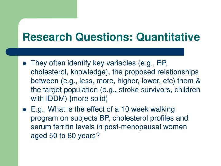 Research Questions: Quantitative