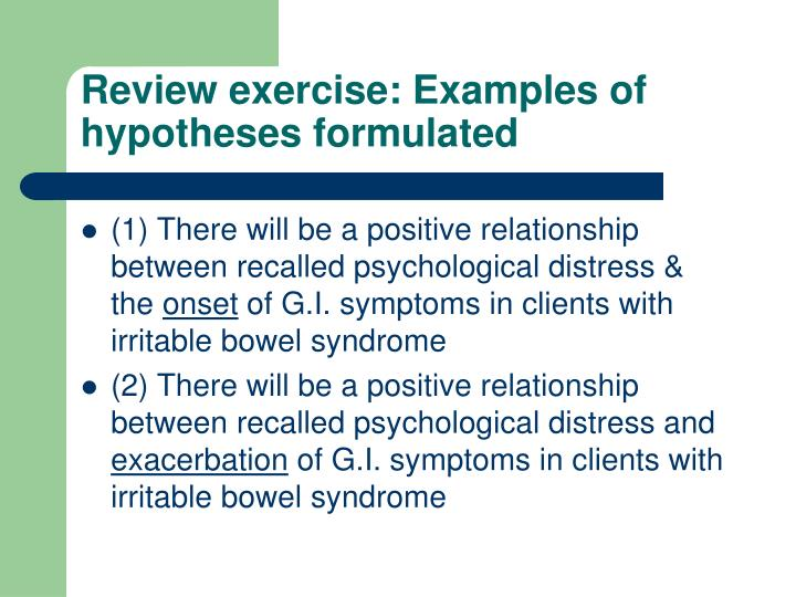 Review exercise: Examples of hypotheses formulated