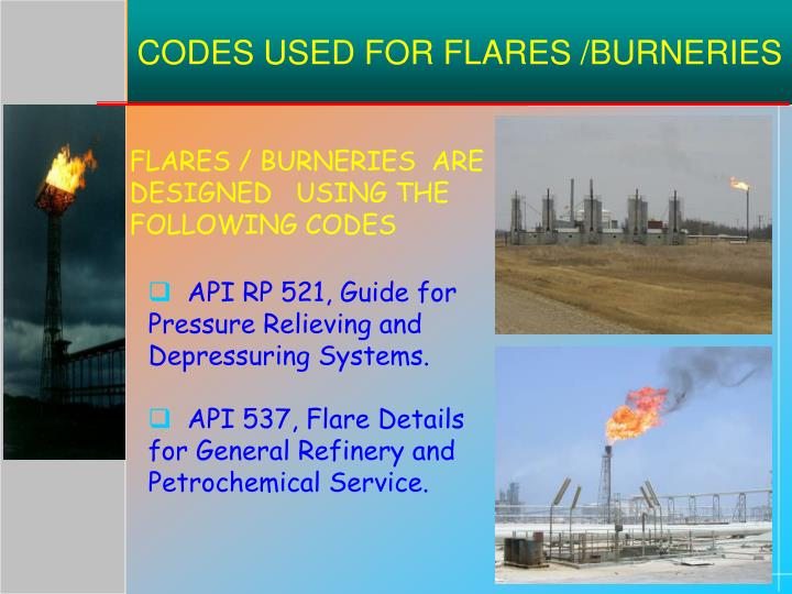CODES USED FOR FLARES /BURNERIES