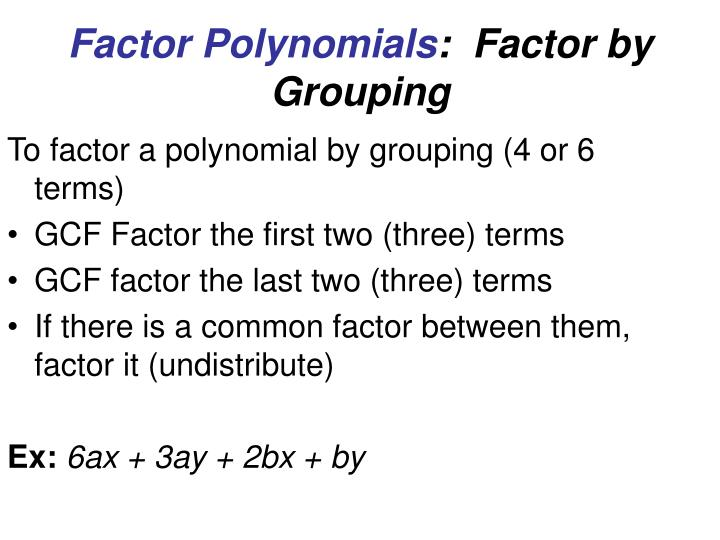 Factor Polynomials