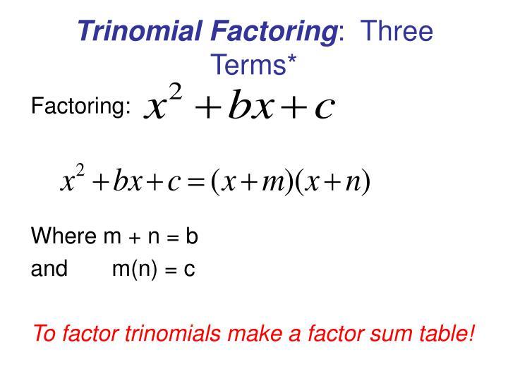 Trinomial Factoring