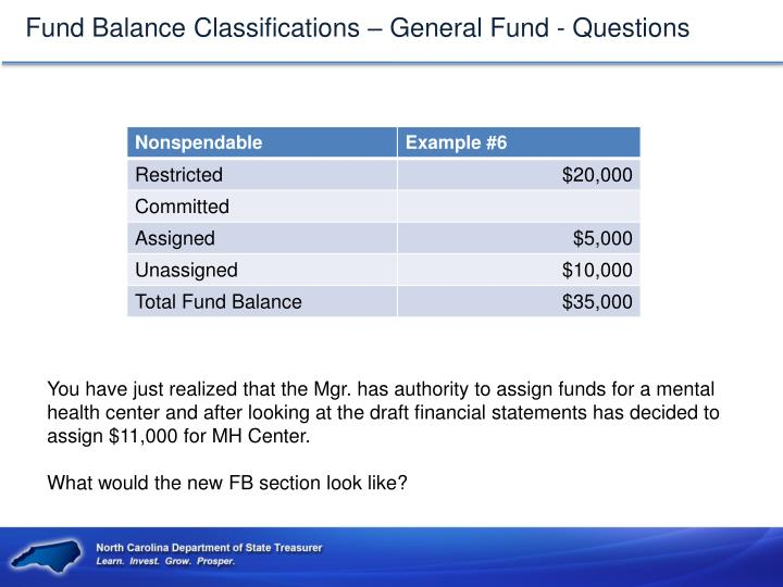 Fund Balance Classifications – General Fund - Questions