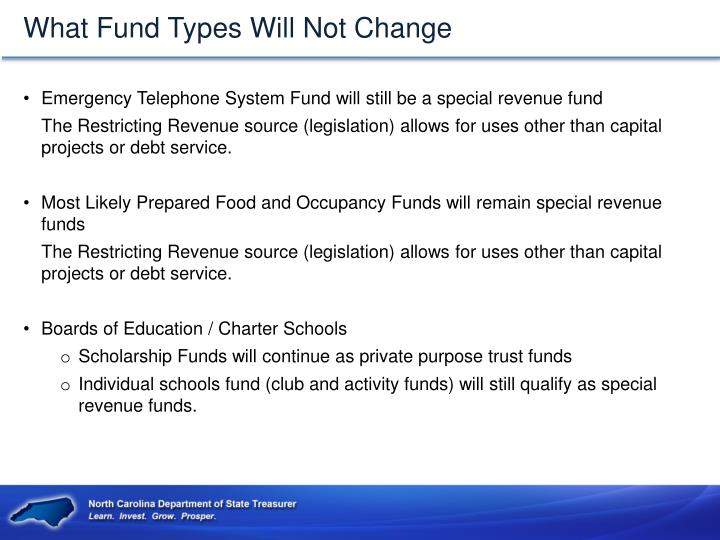 What Fund Types Will Not Change