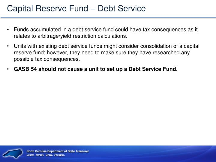 Capital Reserve Fund – Debt Service
