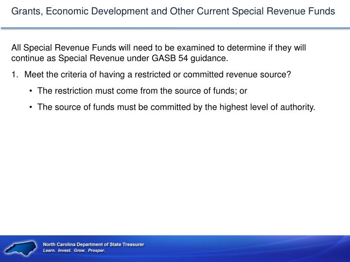 Grants, Economic Development and Other Current Special Revenue Funds