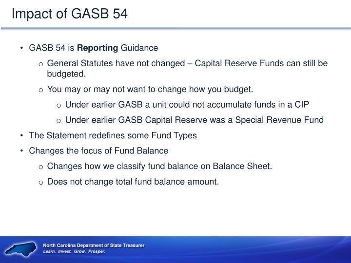 Impact of GASB 54