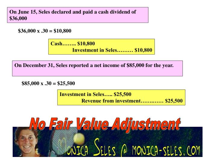 On June 15, Seles declared and paid a cash dividend of $36,000