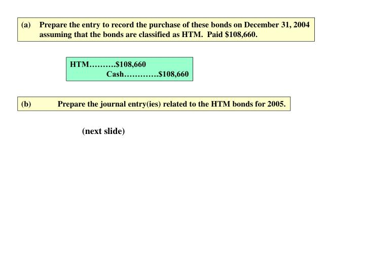 Prepare the entry to record the purchase of these bonds on December 31, 2004