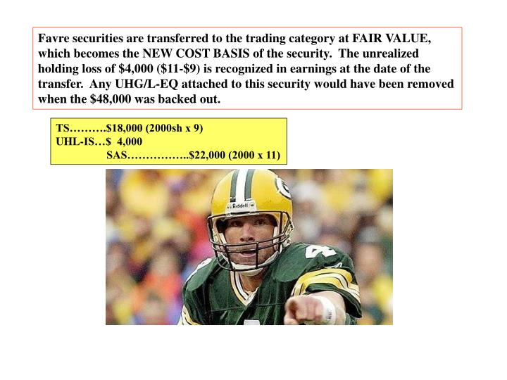 Favre securities are transferred to the trading category at FAIR VALUE,