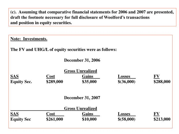 (c).  Assuming that comparative financial statements for 2006 and 2007 are presented,