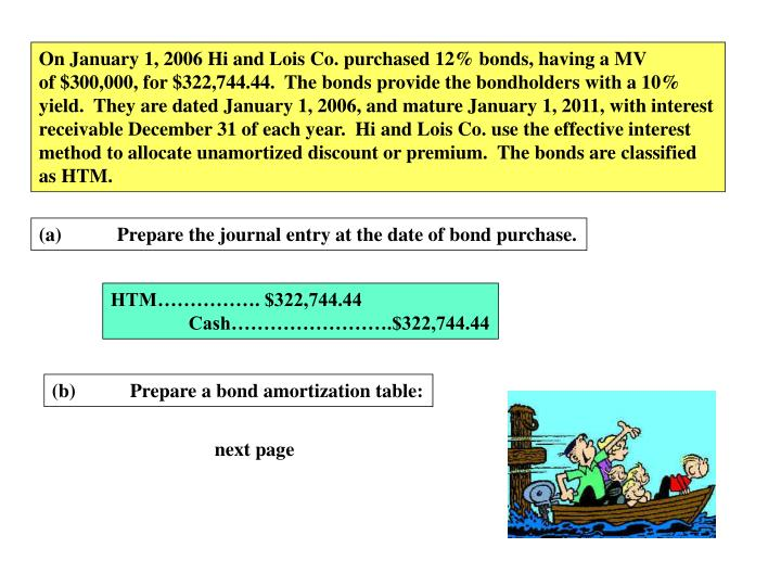 On January 1, 2006 Hi and Lois Co. purchased 12% bonds, having a MV