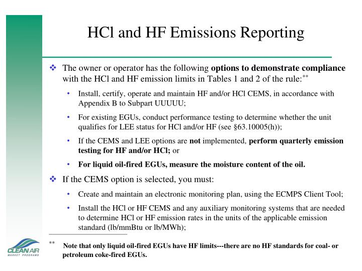HCl and HF Emissions Reporting