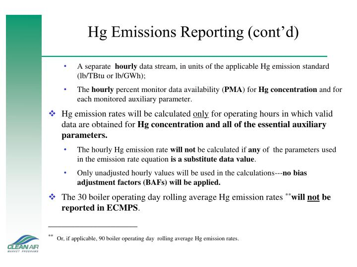 Hg Emissions Reporting (cont'd)