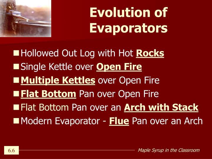 Evolution of Evaporators