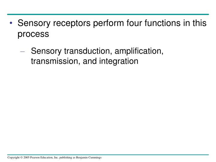 Sensory receptors perform four functions in this process