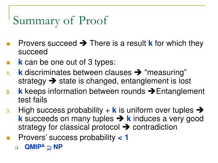 Summary of Proof