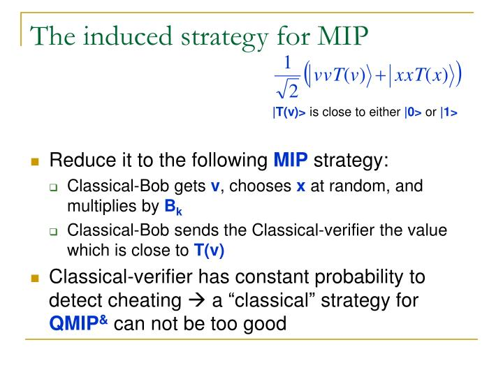 The induced strategy for MIP