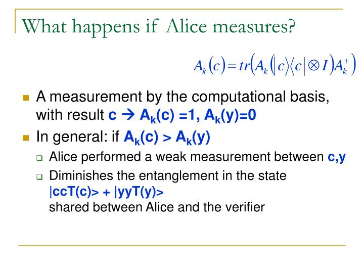 What happens if Alice measures?