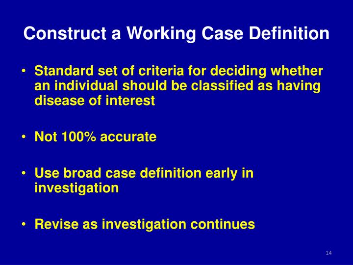 Construct a Working Case Definition