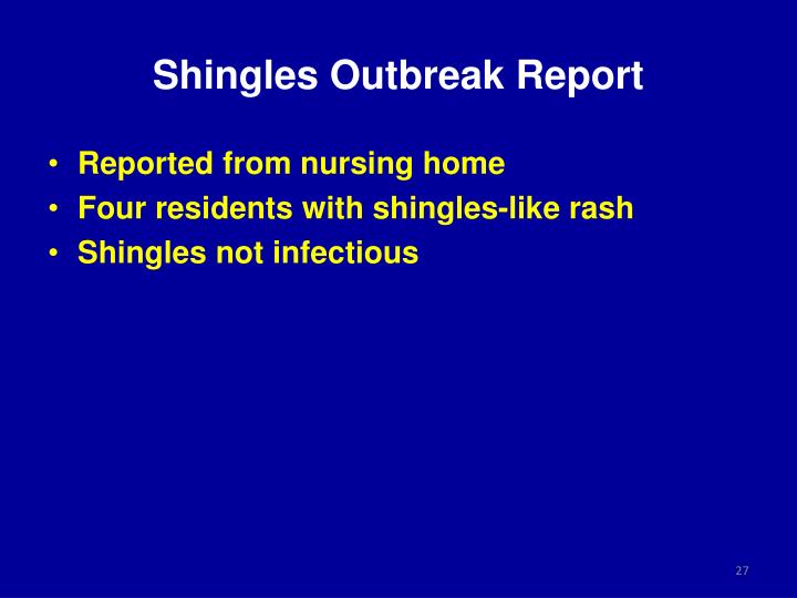 Shingles Outbreak Report