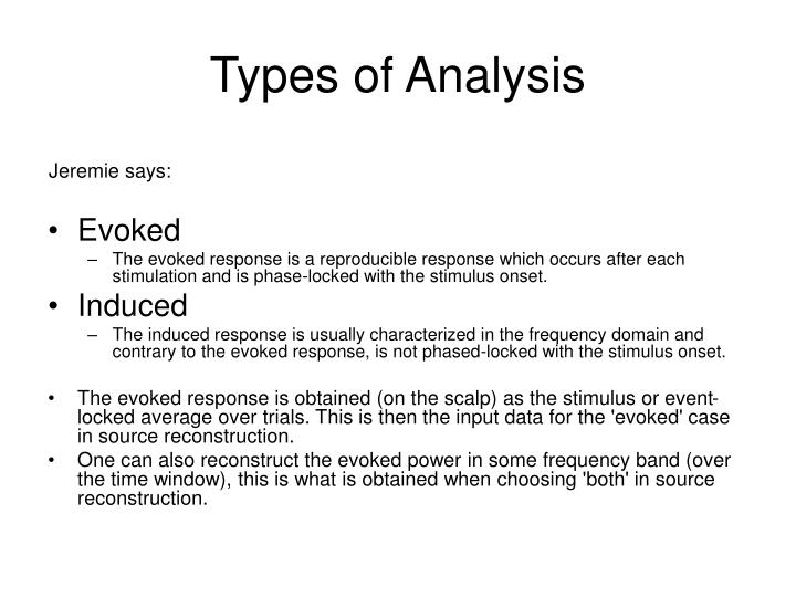 Types of Analysis