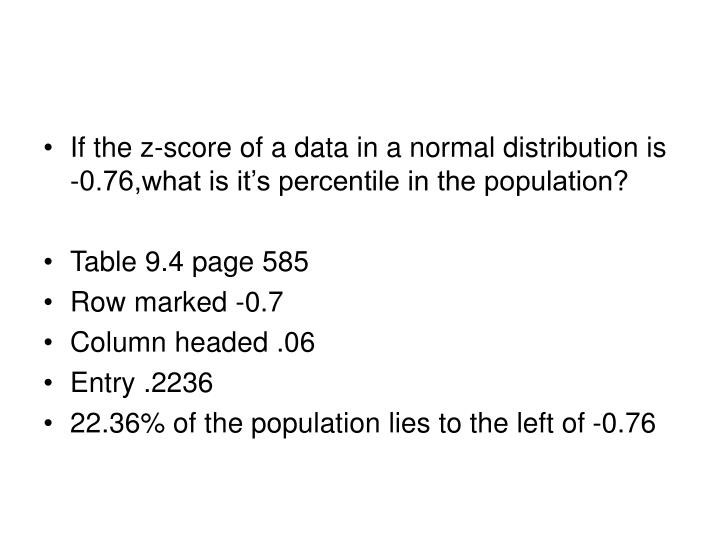 If the z-score of a data in a normal distribution is -0.76,what is it's percentile in the population?