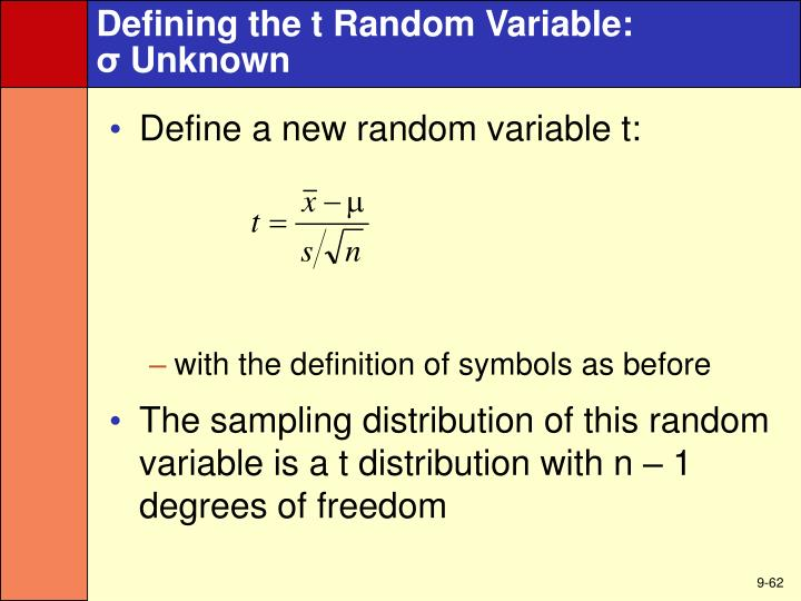 Defining the t Random Variable: