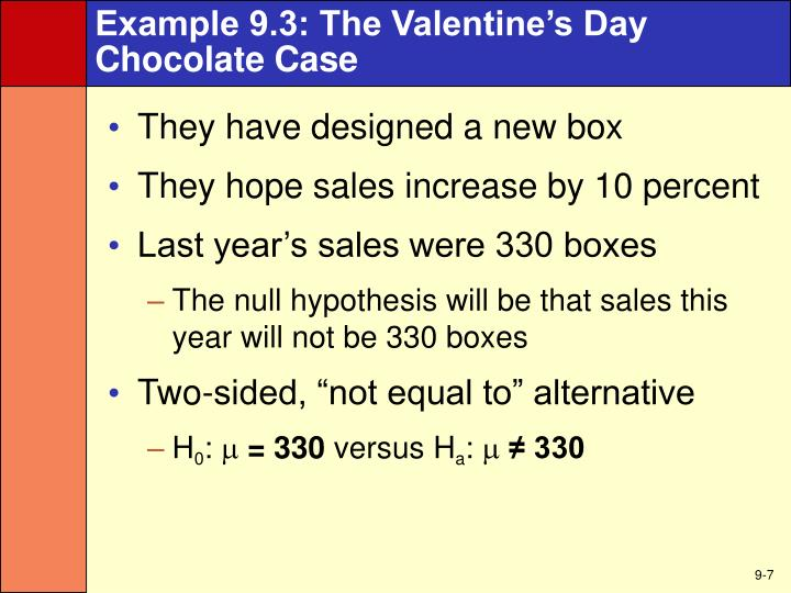 Example 9.3: The Valentine's Day Chocolate Case