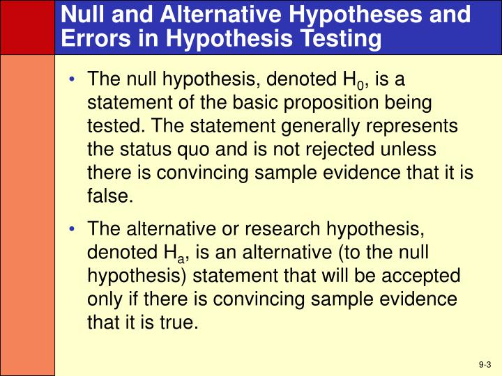 Null and alternative hypotheses and errors in hypothesis testing